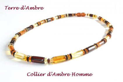 Collier d'ambre Homme multicolore