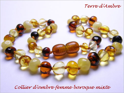 Collier d'ambre baroque mixte