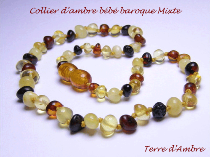 Collier d'ambre bébé baroque multicolore